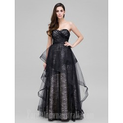 Australia Formal Dress Evening Gowns Black A-line Sweetheart Long Floor-length Lace Dress